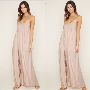 Forever 21 pink lace maxi dress size S